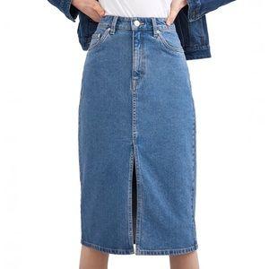 [Zara] Denim Hi-Rise Midi Skirt Size XS